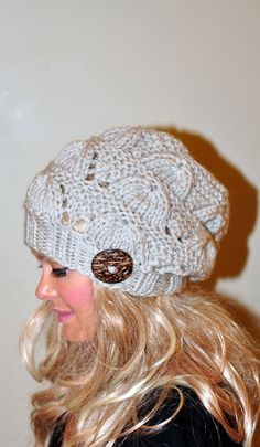 Slouchy Beanie Slouch Hat Button Hand Knit Winter Women by lucymir