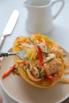 20-Minute Thai :: Red Curry Chicken Spaghetti Squash Bowls - Country Cleaver