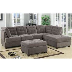 Our 3 piece sectional sofa with reversible chaise features a soft microfiber with tufted button detail on both back cushions and seat cushions. Hardwood frame with detachable legs along with hardware ...