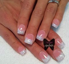 Instagram photo of pink and white glitter acrylic nails by tennailsofsparkle