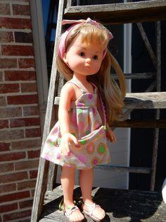 En cathymini, robe d'été, bandeau et sac pour poupées Chéries de Corolle 33 cms et autres poupées compatibles.