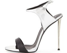 Giuseppe Zanotti Black and Silver Sandal with Metal Heel