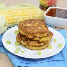 Farmstand Corn Fritters Corn Fritter Recipes, Snack Recipes, Cooking Recipes, Snacks, Vegetarian Recipes, Easy Mexican Casserole, Casserole Recipes, Sweet Corn Fritters, Cheddar Potatoes
