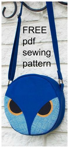 FREE downloadable pdf sewing bag pattern. The Owl Carry It Bag is a total hoot! This round crossbody features the face of an owl and an adjustable strap. Perfect for a fun night out!