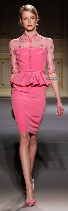 Georges Hobeika - Haute Couture Spring 2013 Fashion Week - Peplum waist pink dress with sheer detailing Women's Dresses, Evening Dresses, Short Dresses, Pink Fashion, Love Fashion, Runway Fashion, Fashion Design, Paris Fashion, Style Fashion