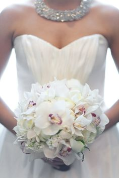 Wedding ideas - All white Bridal bouquet - orchids - Florals by The Special Event Florist, Tina Barrera - Donnell Probst Photography - donnellprobst.com