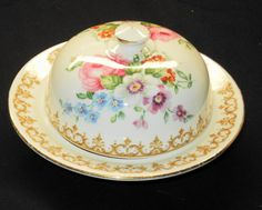 Crown Staffordshire England's Bouquet Unique Butter Dish with Dome Lid | eBay