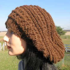 Slouchy Beanie, Slouch Hat, Brown Bulky Alpaca and Wool Hat, Christmas Fashion, Large Unisex Baggy Beret, Winter Hat by NorthStarAlpacas on Etsy