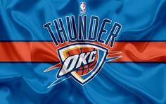 Descargar fondos de pantalla Oklahoma City Thunder, club de baloncesto, la NBA, emblema, logotipo, estados UNIDOS, la Asociación Nacional de Baloncesto, bandera de seda, de baloncesto, de Oklahoma, EEUU de baloncesto de la liga, al Noroeste de la División de