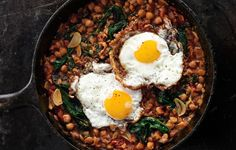 Spinach with Chickpeas and Fried Eggs  (I also make this without the eggs and put it over cous cous or quinoa, can add sauteed chicken too)