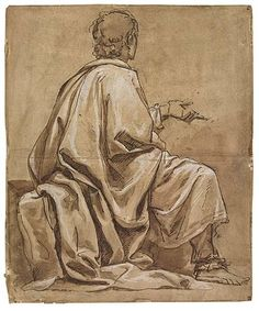 Luca Cambiaso – A Seated Philosopher, Pen and brown ink, 45x37 cm