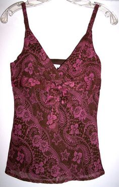 Apt. 9 Top S Brown Pink Floral Cami Fully Lined Babydoll w/ Hidden side zip 32B Buy it now $9.85 Free shipping!