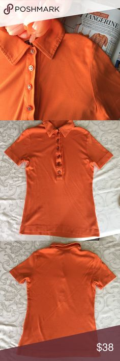 Tory Burch Tangerine Polo Tory Burch polo shirt details logo buttons on front. Short sleeves. Gently worn. Small. From a smoke pet free home. Tory Burch Tops Button Down Shirts