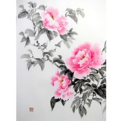 Japanese Ink Painting, Japanese art, Sumi-e, Suibokuga, Oriental art,Rice Paper painting, 17x22', Pink Peonies - pinned by pin4etsy.com
