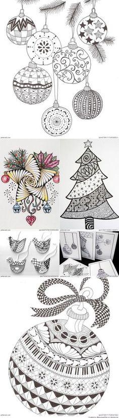 Christmas Zentangle Patterns -zentangle doodle doodles #zentange #doodle #scribbles