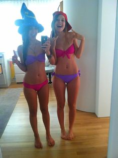 friendss haha they switched bathing suit tops or bottom