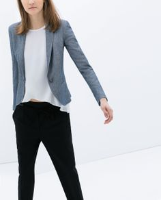 like the fabric of this blazer, although even the XS is cut too large (particularly in the arms) | would prefer a black blazer | Image 1 of SOFT BLAZER from Zara
