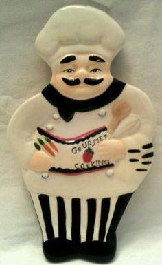 Fat Chef Baker Bistro Italian Ceramic Spoon Rest Home Kitchen Interior Decor | eBay