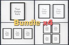 "BUNDLEx4 black frame 8x10"" mockup by CGmockup on @creativemarket"