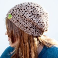 This Fallen Leaves Slouch Hat takes just one skein of yarn to work up. It uses a delicate diamond lacework pattern for a beautiful design.