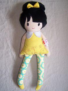 Puppen - Puppe, Püppchen, Stoffpuppe, Schleife - ein Designerstück von similY bei DaWanda