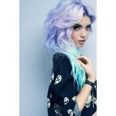 PASTEL FANTASY // (2) Aqua Blue and Lavender Purple Hair Extensions //... ($24) ❤ liked on Polyvore featuring hair, people, pictures, girls and models
