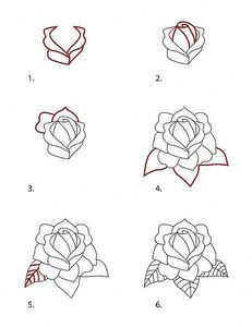 How to Draw a Classic Tattoo Style Rose Rose Step By Step, Step By Step Drawing, How To Draw Flowers Step By Step, Easy To Draw Rose, How To Draw Roses, Flowers To Draw, Pencil Drawing Tutorials, Art Tutorials, Drawing Ideas