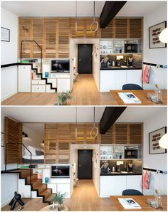 Hotel room boasts retractable staircase and hideaway loft bed Home Room Design, Tiny House Design, Loft Design, Design Design, Cabana, Tiny Spaces, Loft Spaces, Small Loft Apartments, Tiny House Cabin