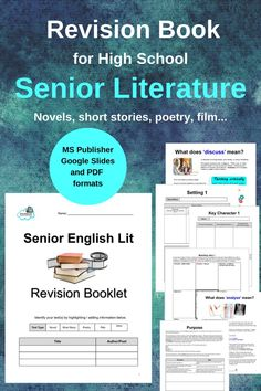 Revision Booklet for Senior English Literature - Templates to Complete Elements Of Literature, English Literature, Reading Resources, Teaching Reading, Learning, High School Students, High School Seniors, Teaching English, Learn English