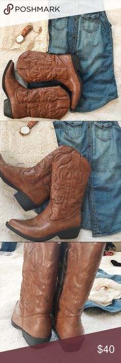 Madden Girl Cowgirl Boots 🌵 Cowgirl Boots- NWOT 👢🌵 Madden Girl Shoes Heeled Boots