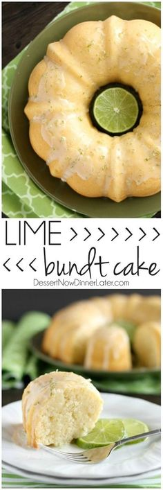 This Lime Bundt Cake is easy to whip up and tastes like pound cake with a tangy lime glaze on top! on MyRecipeMagic.com