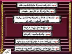 سور : ((الحواميم، الحاميم، ذوات حم، آل حم)) : سبع سور متتاليات في القرآن هي: غافر، فصلت، الشورى، الزخرف، الدخان، الجاثية، والأحقاف. أرقامها متسلسلة بالمصحف:٤٠، ٤١، ٤٢، ٤٣، ٤٤، ٤٥، ٤٦. ونزلت متسلسلة إيضا بمكة (مكيّة). سبب التسمية ان جميعها تبدأ بـ (حم) باستثناء سورة الشورى فآيتها الأولى (حم) وآيتها الثانية (عسق) مما جعلها تتميز عن باقي سور المجموعة ، وهي السورة التي تسلسلها ٤٢ من مضاعفات الـرقم سبعة. ضعّف الألباني كل الأحاديث الواردة في فضلها من أنها : ديباج القرآن، ثمرة القرآن، لباب القران،…