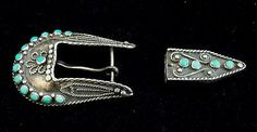 Zuni-Silver-and-Turquoise-Belt-Buckle-STERLING-Old-Pawn-Ranger-Set-ST942