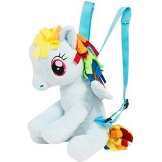 My Little Pony My Little Pony Rainbow Dash Character Plush Backpack ($16) ❤ liked on Polyvore featuring bags, backpacks, daypack bag, rucksack bags, my little pony bag, rainbow bag and knapsack bag