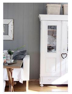 #grey walls #white furniture