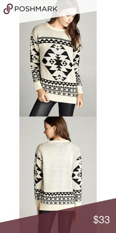 """✨NEW✨Cream Tribal Jacquard Sweater NWT. Cream and black tribal jacquard sweater! Super cute and cozy!!!  * 100% Acrylic   Lenght: S-27"""", M-28"""", L-29"""" Bust, armpit to armpit: S-20"""", M-21"""", L-22""""  PRICE IS FIRM UNLESS BUNDLED!  Add to bundle and save on 2 or more items from my closet! Sweaters Crew & Scoop Necks"""