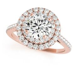 Allurez Double Halo Diamond Engagement Ring 18k Rose Gold (1.50ct) ($6,415) ❤ liked on Polyvore featuring jewelry, rings, rose, rose ring, gold band engagement rings, rose engagement ring, rose gold ring and round engagement rings