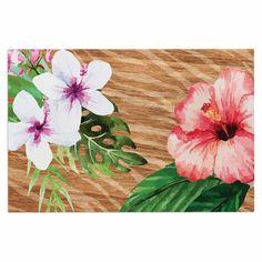 "NL designs ""Vintage Tropical Jungle "" Pink Floral Decorative Door Mat"