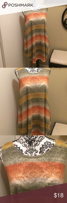 42 Pops Sleeveless Multicolor Top Women's 42 Pops brands Top. Like New; sleeveless with pockets on both sides, Boat neck collar, flowy. Size XL. 42 Pops Tops Blouses
