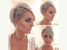 Wedding Hairstyles Pixie Cut Hairstyle with a Side Braid - Looking for a way to wear your hair for the big day? Check out these 31 wedding hairstyles for short to mid length hair for inspiration! Up Hairstyles, Pretty Hairstyles, Braided Hairstyles, Popular Hairstyles, Wedding Hairstyles For Short Hair, Hairstyle Ideas, Braids For Short Hair, Short Hair Cuts, Pixie Braids