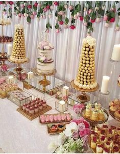 Dessert table, candy table and cake table dessert display table, candy Dessert Party, Pink Dessert Tables, Baptism Dessert Table, Wedding Cupcakes, Wedding Desserts, Bridal Shower Desserts, Wedding Themes, Tastemade Dessert, Wedding Cake Table Decorations