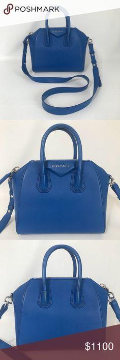 6e0b4eff68 Authentic Givenchy Goatskin Mini Antigona Blue Excellent condition.  Negligible scuffs on leather. Inside pristine
