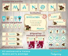Kit anniversaire Vaiana personnalisé au format digital / Moana party package customized digital Moana Party, Moana Font, Candy Labels, Cake Bunting, Wall Banner, Happy Birthday Banners, Disney Films, Kit, Bottle Labels