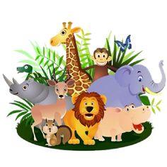 Giraffe Lion Zebra Elephant And Monkey Cartoon Picture
