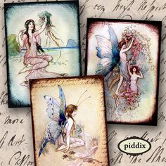 Brand New: Vintage Victorian Fairies, Mermaids and Water Nymphs, in ATC or ACEO size (2.5 x 3.5 inch rectangles). #Printables by piddix 890