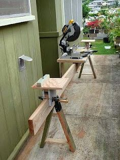***I've got to build this!  Fold-flat mobile miter saw stand with adjustable full-extension arms