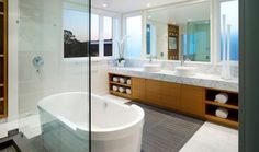 Bathroom, Exquisite Bathroom Decorating Ideas With Open Storage For Rolled Towel Wooden Cabinet Granite Countertop Faucet Sink Big Mirror Bathtub Marble Floor Glass: Bathroom Decorating Ideas with Inspiring Looks