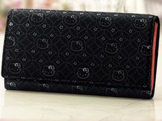Hello Kitty Lady Black Luxury Inden Leather Wallet Official Only in Japan