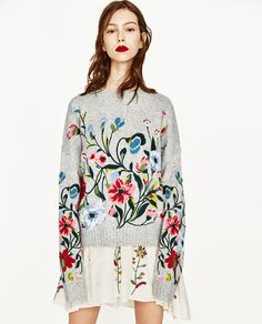 Image 2 of SWEATER WITH EMBROIDERED FLOWERS from Zara