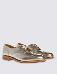 Leather Lace Up Brogue Shoes | M&S